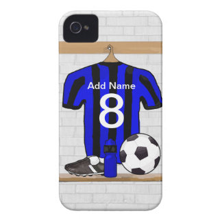 Personalised Black and blue football soccer Jersey iPhone 4 Cover