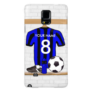Personalised Black and Blue Football Soccer Jersey Galaxy Note 4 Case