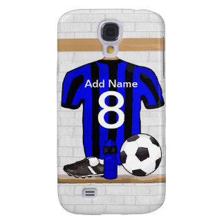 Personalised Black and blue football soccer Jersey Galaxy S4 Case