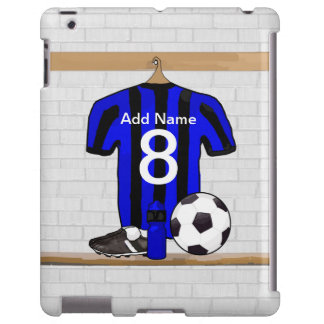 Personalised Black and blue football soccer Jersey iPad Case