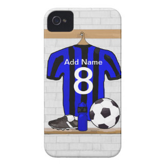 Personalised Black and blue football soccer Jersey iPhone 4 Cases