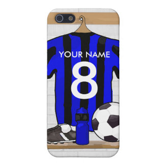 Personalised Black and blue football soccer Jersey iPhone 5/5S Cases