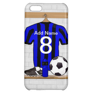 Personalised Black and blue football soccer Jersey iPhone 5C Cover