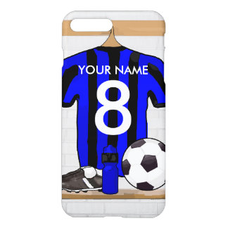 Personalised Black and blue football soccer Jersey iPhone 7 Plus Case