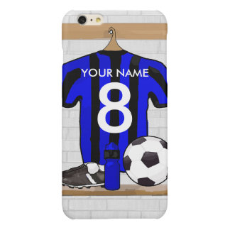 Personalised Black and blue football soccer Jersey Glossy iPhone 6 Plus Case