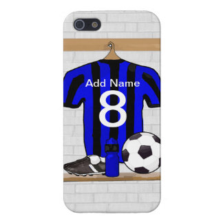 Personalised Black and blue football soccer Jersey Cover For iPhone 5