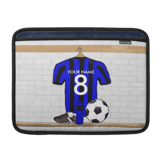 Personalised Black and blue football soccer Jersey Sleeve For MacBook Air