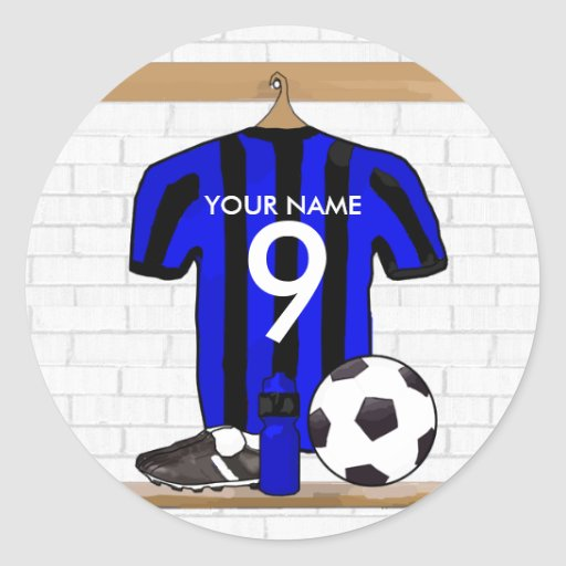 Personalised Black and blue football soccer Jersey Round Stickers