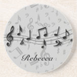 Personalised black and grey musical notes coasters