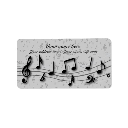 Personalised Black and Grey Musical Notes Label
