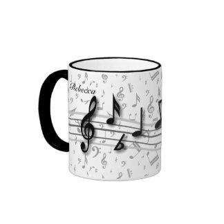 Personalised black and grey musical notes coffee mug