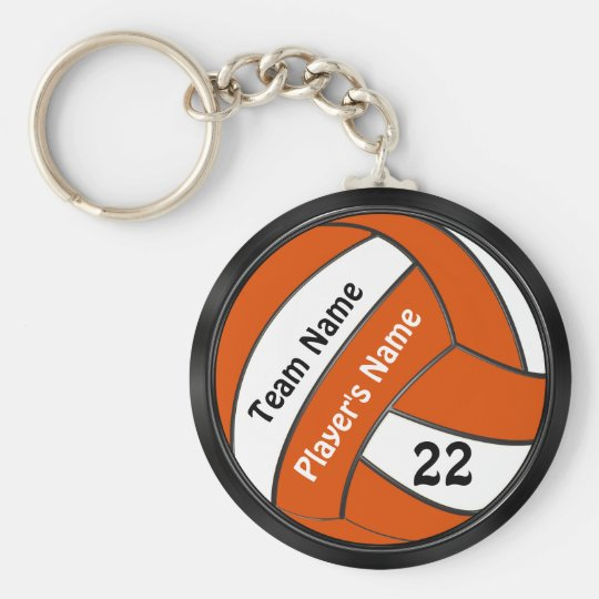 Personalised Black and Orange Volleyball Keychains