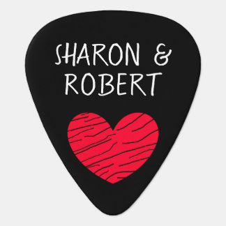 Personalised Black and Red Heart Couple Guitar Pic Guitar Pick