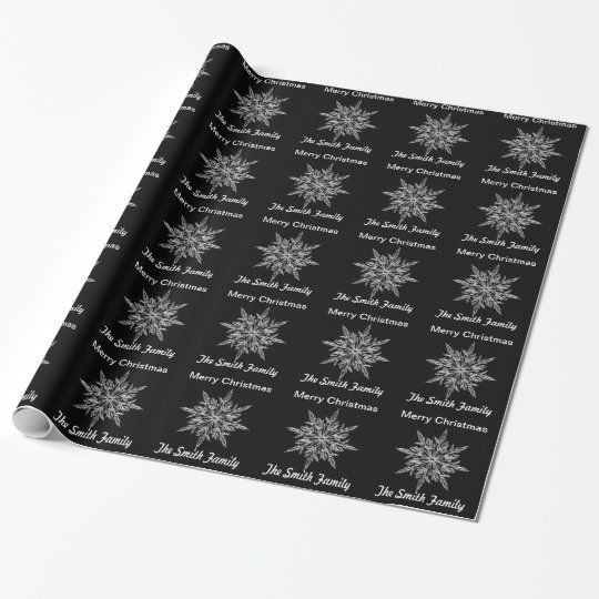 Personalised Black and Silver Snowflake Wrapping Paper