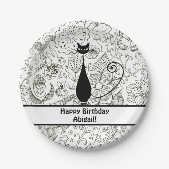 Personalised Black and White Cat Happy Birthday Paper Plate