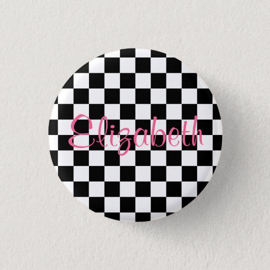 Personalised Black and White Chequerboard Button