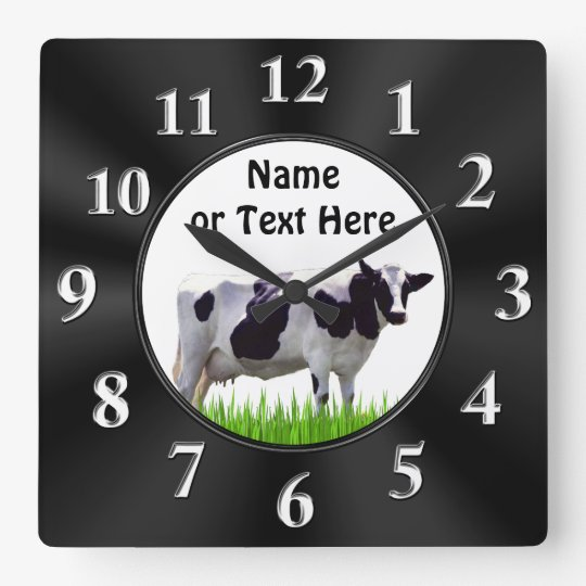 Personalised Black and White COW Clock
