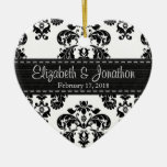 Personalised Black and White Damask Wedding Favour Christmas Tree Ornaments