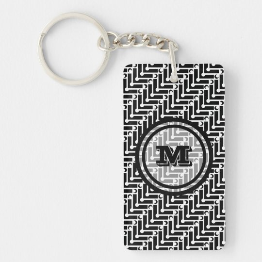 Personalised Black and White Geometric Pattern Key Ring