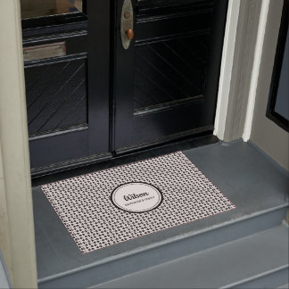 Personalised black and white geometric weave doormat