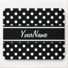 Personalised Black and White Polka Dots Pattern Mouse Mat