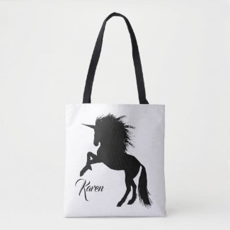 Personalised Black and White Rearing Unicorn Tote Bag