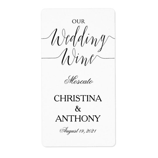 Personalised Black and White Wedding Wine Label Shipping