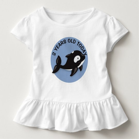 Personalised Black and White Whale Birthday Toddler T-Shirt