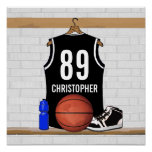 Personalised Black Basketball Jersey Poster