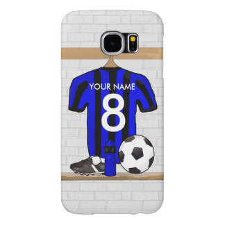 Personalised Black Blue Football Soccer Jersey Samsung Galaxy S6 Cases