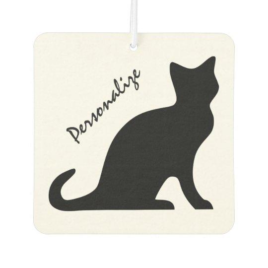 Personalised black cat car air freshener