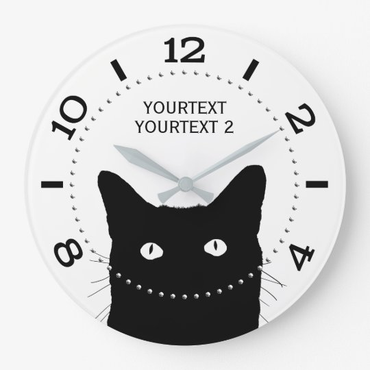 Personalised Black Cat Dial on a Large Clock