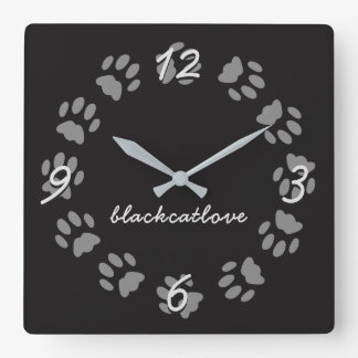 Personalised Black Cat Paw Prints Wall Clock