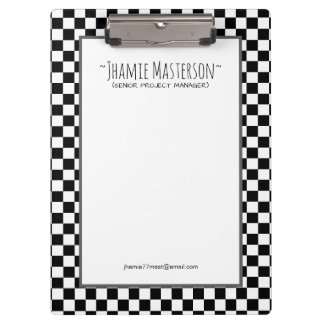 Personalised Black Chequered Clipboard