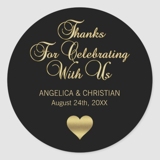 Personalised Black Colour Gold Thanks Wedding Classic Round