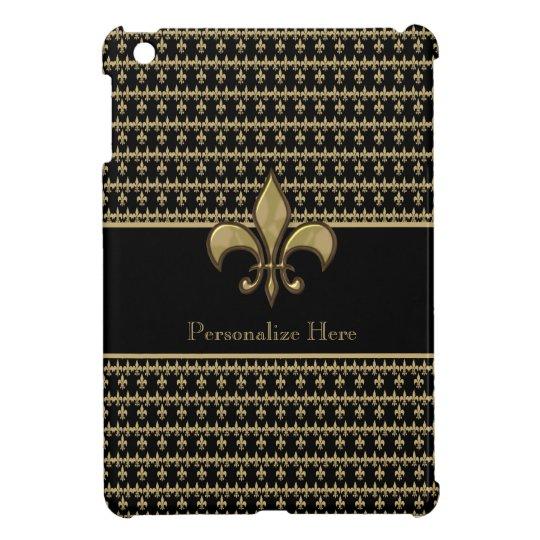 Personalised Black Gold Fleur de Lis iPad Mini Cases