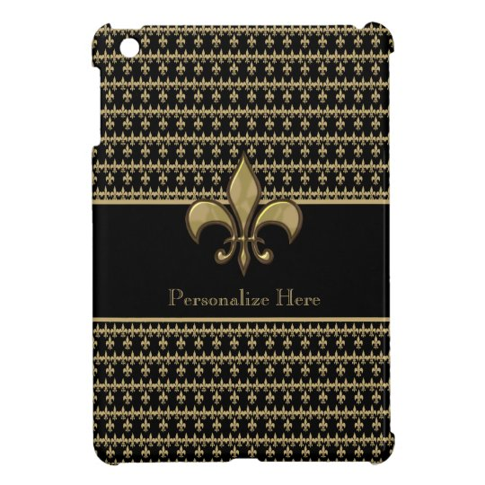 Personalised Black Gold Fleur de Lis iPad Mini Cover