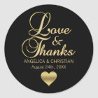 Personalised Black Gold LOVE & THANKS Wedding Classic Round Sticker