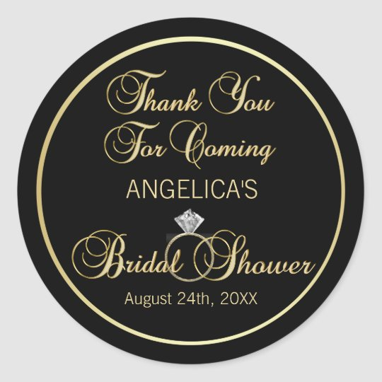 Personalised Black Gold Thank You Bridal Shower Classic