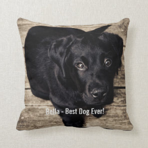 Personalised Black Lab Dog Photo and Dog Name Cushion