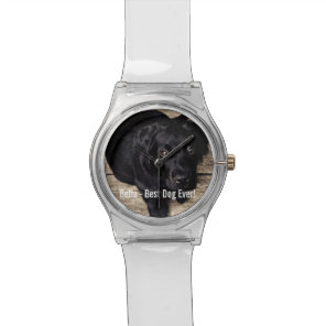 Personalised Black Lab Dog Photo and Dog Name Watch