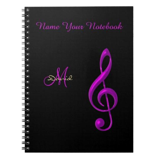 Personalised Black Light Music Clef Notebook