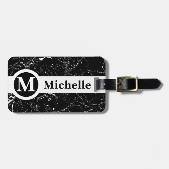 Personalised Black Marble Centerline Luggage Tag
