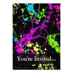 Personalised Black/Neon Splatter Personalised Invitation