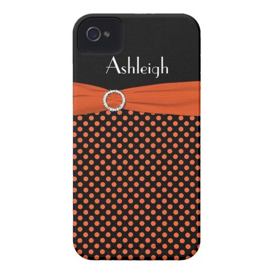 Personalised Black, Orange Polka Dot iPhone 4 Case