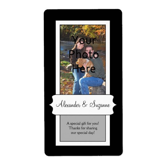 Personalised Black Photo Wedding or Favour Labels