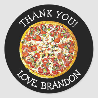 Personalised Black Thank You Pizza Party Stickers