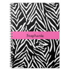 Personalised Black, White and Hot Pink Zebra Print Notebook