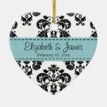 Personalised Black White Blue Damask Wedding Favou Ornament
