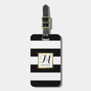 Personalised Black & White Striped Gold Monogram Luggage Tag